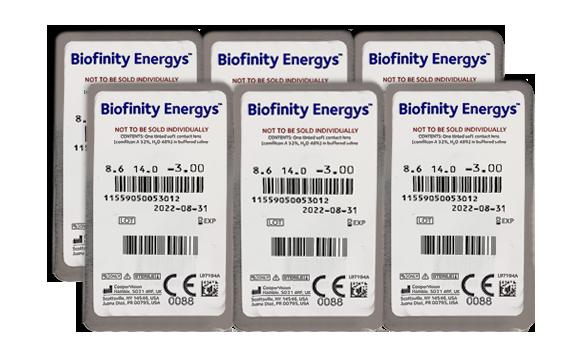 6 unidades de lentes de contato Biofinity