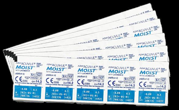 6 unidades de lentes de contato 1-Day Acuvue Moist