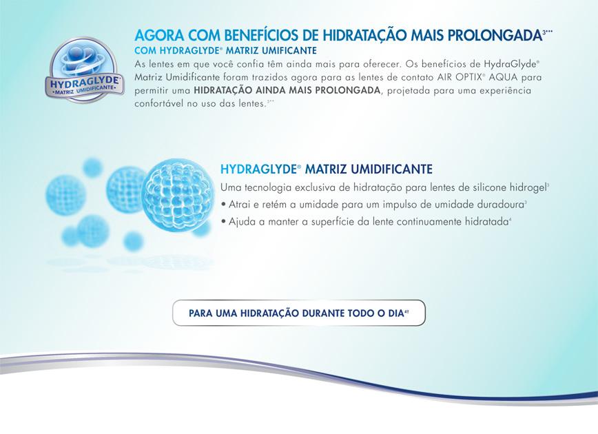 Benefícios das Lentes de Contato Air Optix Hydraglyde - maior tempo de hidratação