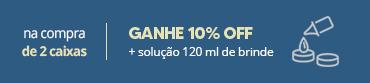 Promoção selo 2cxs ganhe 10off mais solucao 120ml